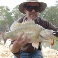 Barry Porter with Callop, caught with Mudeye lure, Katarapko, [no date]