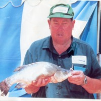Brian Schulz with Murray Cod, [no date]