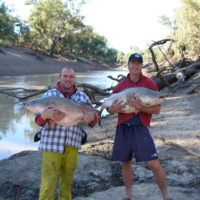 (L to R) Dwayne Willoughby with Nathan Ryan at Beemery (near the intersection of the Bogan and Darling rivers)
