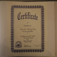 A certificate to the Narrabri Fishing Club from Narrabri Health Service for participation in the fundraising for the NHS Trauma Bed, 23 June 1997.