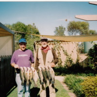 Archie (L) and Jim Hanley (R) with eight Yellowbelly caught at Lake Eppalock (VIC), November 2007.