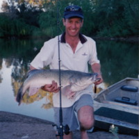 Jason Simpson holding a Murray Cod, Namoi River (NSW), [no date]