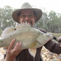 Barry Porter with Callop, caught with Cultiva Vibe lure, Katarapko, [no date]