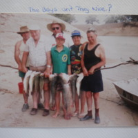 Murray Cod catch. Fishing was a family occasion. Snowden family album, [no date]