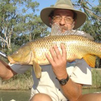 Barry Porter with 69cm Carp located Stump J3, Katarapko, [no date]