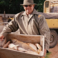 John Aston with fish catch at Winkie, Murray River, 1990