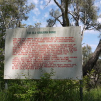 A sign displaying information about the heritage listed Old Goulburn Bridge, Seymour (VIC), 25 October 2010.