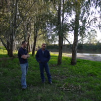 (L to R) Talking Fish project team member, Jason Simpson, Namoi River (NSW), 2010