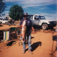 Jeff Jethro Vernon pictured with a 24 pound Murray Cod, Lake Mulwala (NSW), 18 April 1999.