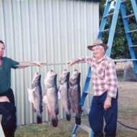 Robert Worboys (right) with Murray Cod catch, [no date]