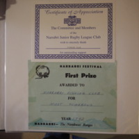 Certificate of Appreciation from the Narrabri Junior Rugby League Club, c. 1992. First Prize certificate in the Narrabri Festival for Most Humourous, 1992.