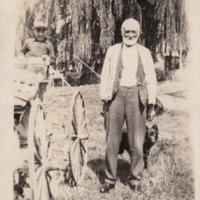 Boy, man, and dog with wagon, Hughendon property, [no date]