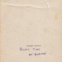 Annotation on rear of photograph, Picnic Time on Rubicon, circa 1900