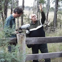 (L to R) Hamish Sewell and Sam Bonner at the site of the Canoe Tree, Condamine River (QLD), 21 September 2010.