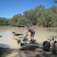 Boat on floodwaters, Darling River, near Pooncarie (NSW), November 2010