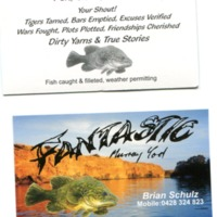 Business card for the Fantastic Fisherama fishing competition Brian Schulz ran in the 1970s