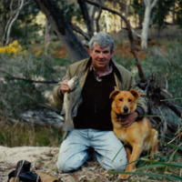 Barrie Hall pictured with a Macquarie Perch, Hughes Creek (Seymour, VIC), 1995.