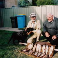 Jim Hanley (L) pictured with 16 Silver Perch, [n.d.]