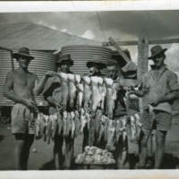 (Unknown order) Tinny Johnson, Harry Huhn and mates. Condamine River, Queensland, 1940s