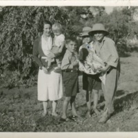 (L to R) May Baku, Pam Eather (Warner), Geoff Cooney, Bernie Bowman, Geoff Warner. Paroo River, 1937