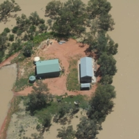 An aerial view of a property in flood waters, [n.d]