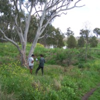Hamish Sewell interviewing Brian Kuhn (left), Condamine River, 2010