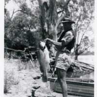 From family archive of Barry Porter, Murray Cod catch, home-made boat, near Berri, South Australia, circa 1950s
