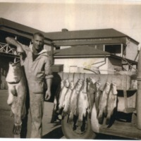 Robert Worboys with Murray Cod caught at Garden Hole, circa 1951