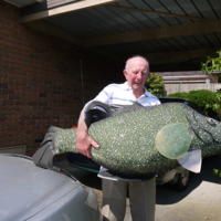 Raymond Donald with Murray Cod replica (Native Fish Strategy), 2010.