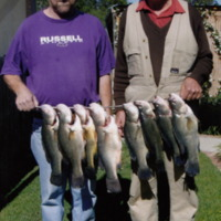 Archie and Jim Hanley with eight Yellowbelly caught at Eppalock (VIC), November 2007.