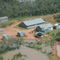 An aerial view of a property affected by floodwaters in the Upper Darling region, [n.d]