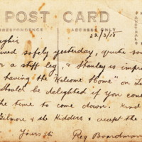 Post card to father of Ken Gilmore, an invitation to a Welcome Home, 1918