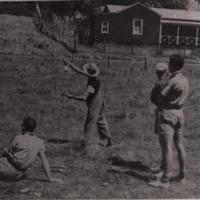 Demonstration of distance casting with Australian built cane rod, Eildon, 1945