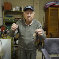 Ron Bain pictured with his fishing spinners, Seymour (VIC), 25 October 2010.