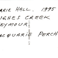 BARRIE HALL. 1995 | HUGHES CREEK | SEYMOUR | MACQUARIE PERCH