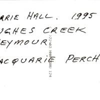 BARRIE HALL. 1995 | HUGHES CREEK | SEYMOUR | MACQUARIE PERCH