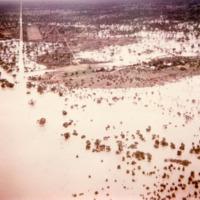 Aerial view of Springvale flood, Queensland, 1964