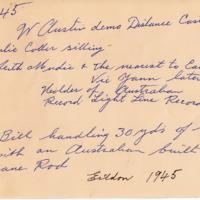 Annotation on rear of distance casting photograph, Eildon, 1945