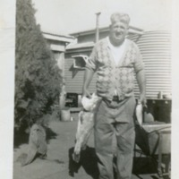 Henry Gaske at back of house. Greenswamp, Queensland, 1940s
