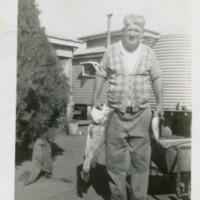 Henry Gaske at back of house. Greenswamp, Queensland, 1940s