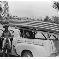 From family archive of Barry Porter, Murray Cod catch, boat atop Holden ute, near Berri, South Australia, circa 1950s