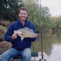 Jason Simpson holding a Yellowbelly, Namoi River (NSW), [no date]