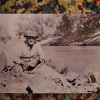 Lyalls uncle Geordie cleaning a cod on the Darling River, New South Wales.