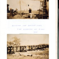 Building the bridge over the Narran River at Angledool, 1925